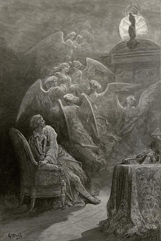 Respite - respite and nepenthe. Illustration to Edgar Allan Poe's The Raven by Gustave Dore, Elephant Folio, 1884
