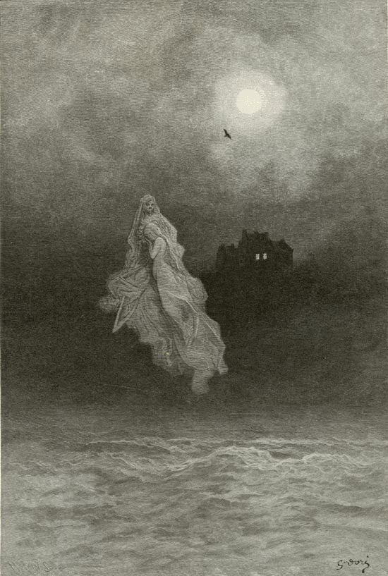 Whether temper sent, or whether tempest tossed thee here ashore. Illustration to Edgar Allan Poe's The Raven by Gustave Dore, Elephant Folio, 1884