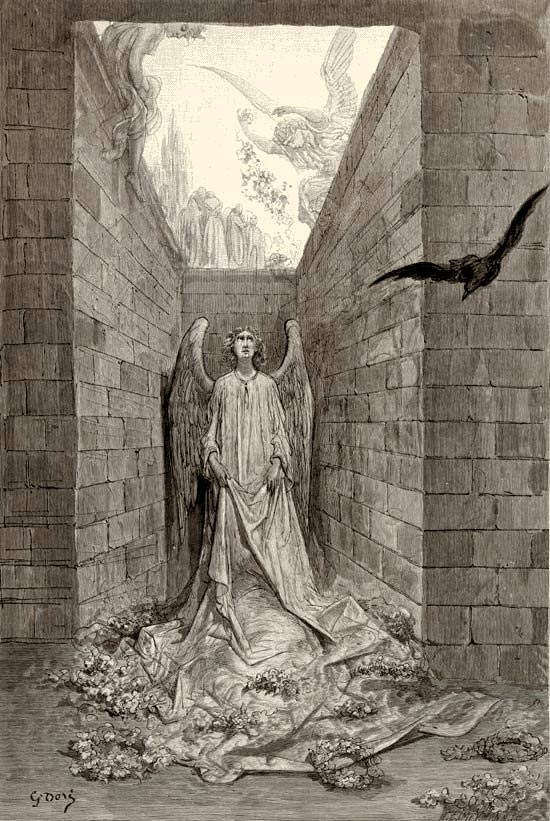 And an echo murmured back the word, 'Lenore'.  Illustration to Edgar Allan Poe's The Raven by Gustave Dore, Elephant Folio, 1884