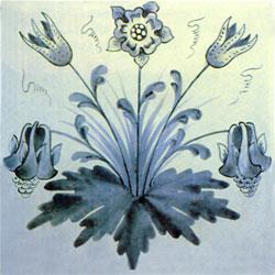 William Morris floral tile: Columbine