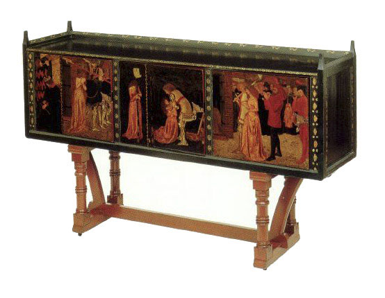 William Morris, St. George cabinet 1861-1862 - designed by his friend Philip Webb and painted by Morris himself and his friend, Dante Gabriel Rossetti and Edward Burne-Jones