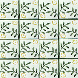 William Morris patterned tile: Peterhouse Diaper