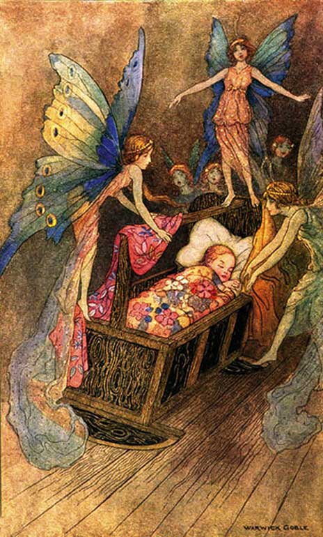 Warwick Goble - Fairies at the Cradle