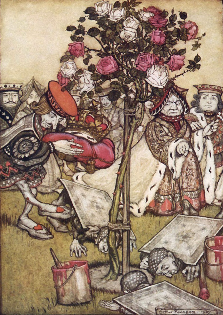 Painting Roses, The Queen's Croquet Ground, from Alice in Wonderland, Illustration by Arthur Rackham