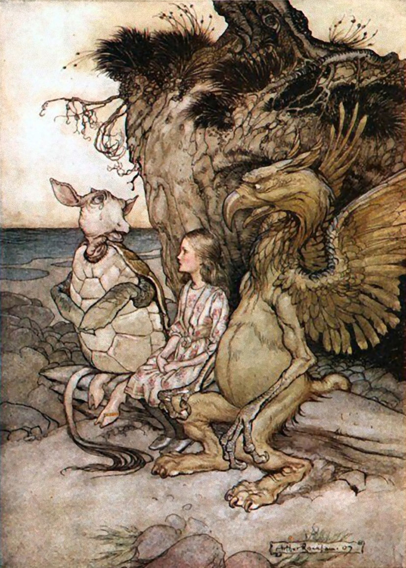 The Mock Turtle's Story, from Alice in Wonderland, Illustration by Arthur Rackham