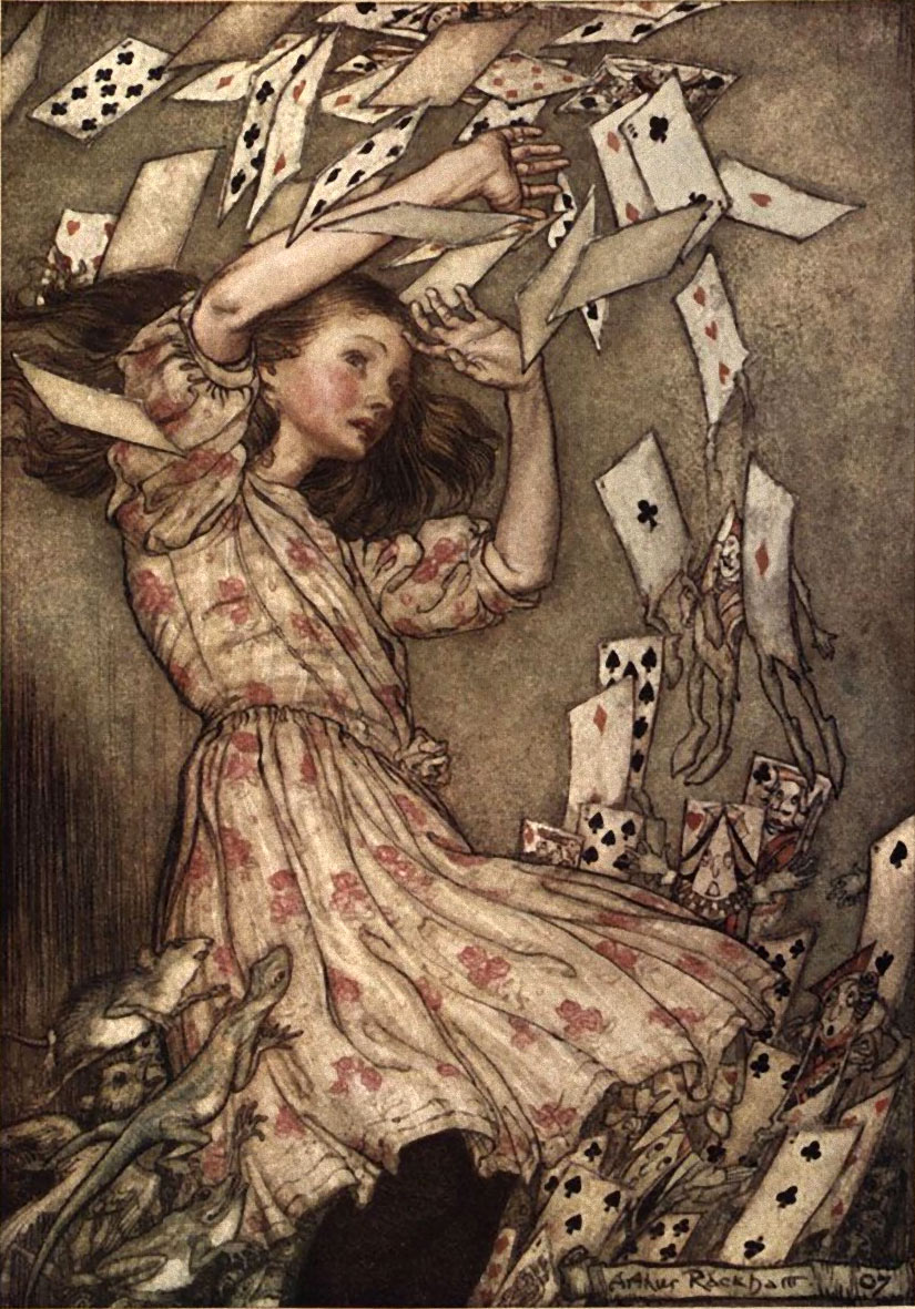 The Cards all Flew Up from Alice in Wonderland, Illustration by Arthur Rackham
