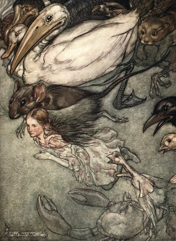 Alice in Wonderland, The Pool of Tears, by Arthur Rackham