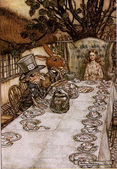 There was a table set out under a tree in front of the house.... A Mad Tea Party from Alice in Wonderland, Illustration by Arthur Rackham