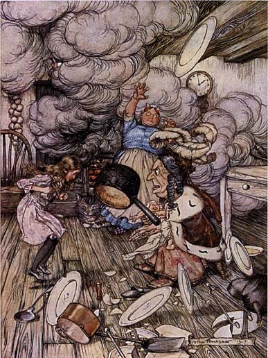 Pig and Pepper: An unusually large saucepan flew close by it, and very nearly carried it off. From Alice in Wonderland, Illustration by Arthur Rackham