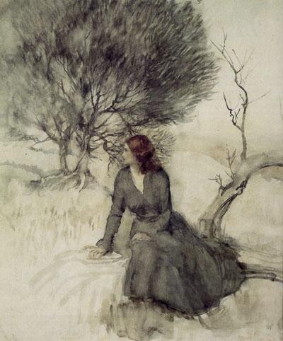 Arthur Rackham, Girl Beside a Stream - click to see bigger