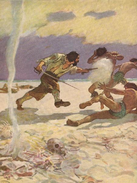 And no sooner had he the Arms in his Hands, but as if they had put new Vigour into him, he flew upon his Murtherers, like a Fury...  From Robison Crusoe by Daniel Defoe, Illustration by N.C. Wyeth