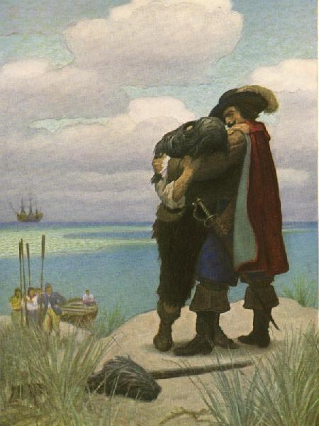 At first, for some time, I was not able to answer him one Word; but as he had taken me in his Arms, I held fast by him, or I should have fallen to the Ground.  From Robison Crusoe by Daniel Defoe, Illustration by N.C. Wyeth
