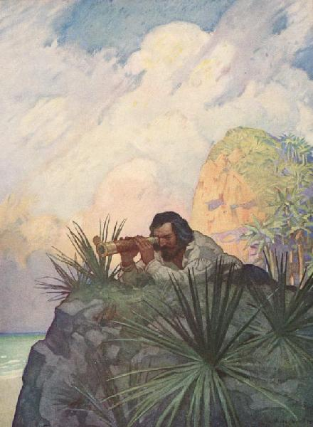 I laid me down flat on my Belly, on the Ground, and began to look for the Place...  From Robison Crusoe by Daniel Defoe, Illustration by N.C. Wyeth