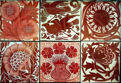 De Morgan Red Lustre tiles
